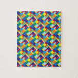 Pretty Bold Colorful Diagonal Quilt Pattern Jigsaw Puzzles