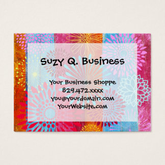 Pretty Bold Colorful Flower Bursts on Wide Stripes Business Card