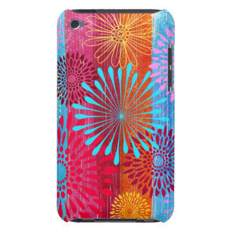 Pretty Bold Colorful Flower Bursts on Wide Stripes iPod Touch Case