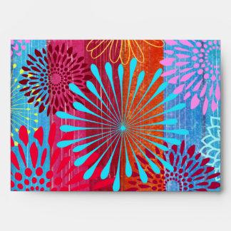 Pretty Bold Colorful Flower Bursts on Wide Stripes Envelopes