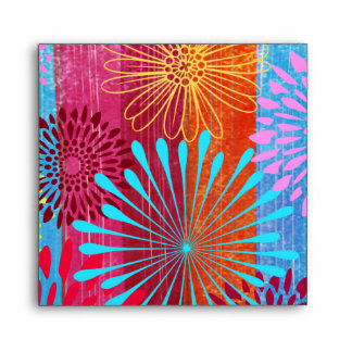 Pretty Bold Colorful Flower Bursts on Wide Stripes Envelope