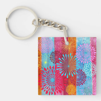 Pretty Bold Colorful Flower Bursts on Wide Stripes Keychain
