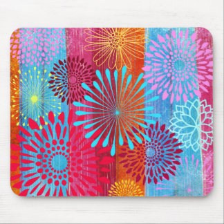 Pretty Bold Colorful Flower Bursts on Wide Stripes Mouse Pad