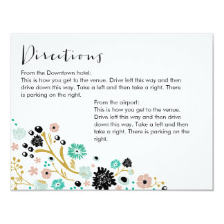 Pretty Bouquet Floral Directions Info Card Blush