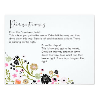 Pretty Bouquet Floral Directions Info Card Invite