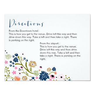 Pretty Bouquet Floral Directions Info Card Navy