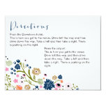 """Pretty Bouquet Floral Directions Info Card Navy 4.25"""" X 5.5"""" Invitation Card"""