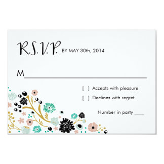 Pretty Bouquet Floral | R S V P Reply Card Blush
