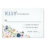 Pretty Bouquet Floral | R S V P Reply Card Navy