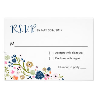 Pretty Bouquet Floral R S V P Reply Card Navy
