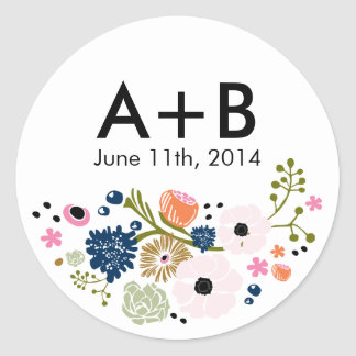 Pretty Bouquet Floral Wedding Circle Sticker Navy