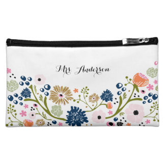 Pretty Bouquet Floral Wedding Cosmetic Bag Navy