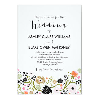 "Pretty Bouquet Floral Wedding Invitation 5"" X 7"" Invitation Card"