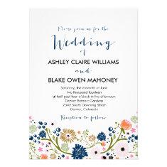 Pretty Bouquet Floral Wedding Invitation Navy