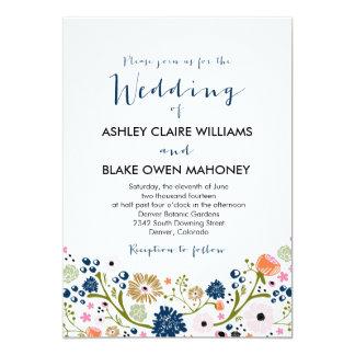 "Pretty Bouquet Floral Wedding Invitation Navy 5"" X 7"" Invitation Card"