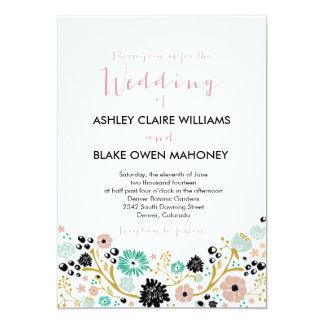 Pretty Bouquet Floral Wedding Invite Blush Black