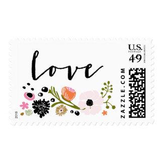 Pretty Bouquet Floral Wedding L O V E Stamp