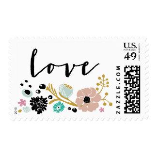 Pretty Bouquet Floral Wedding L O V E Stamp Blush