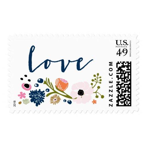 Pretty Bouquet Floral Wedding L O V E Stamp Navy