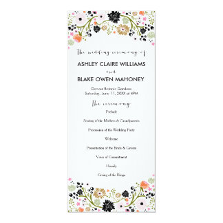 Pretty Bouquet Floral Wedding Program | Black