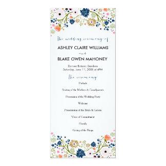 Pretty Bouquet Floral Wedding Program | Navy
