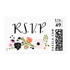 Pretty Bouquet Floral Wedding R S V P stamp