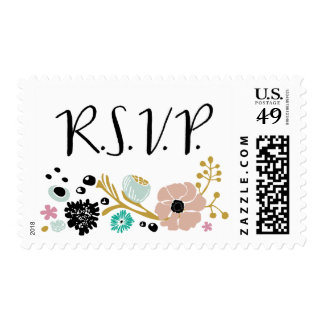Pretty Bouquet Floral Wedding R S V P stamp Blush