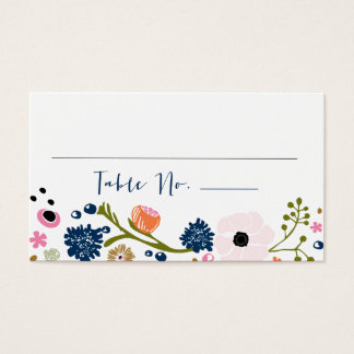 Pretty Bouquet Floral Wedding Table No. Card Navy