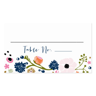 Pretty Bouquet Floral Wedding Table No. Card Navy Double-Sided Standard Business Cards (Pack Of 100)