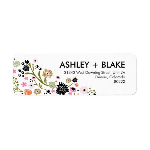 Pretty Bouquet Wedding Return Address Label