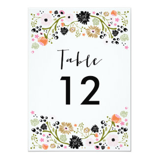 Pretty Bouquet Wedding Table Number Invitation