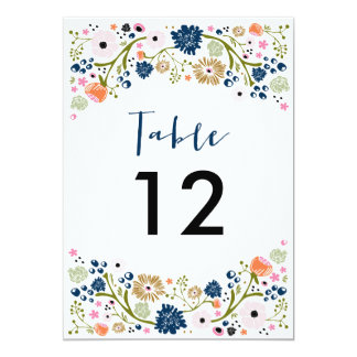 Pretty Bouquet Wedding Table Number Invite Navy