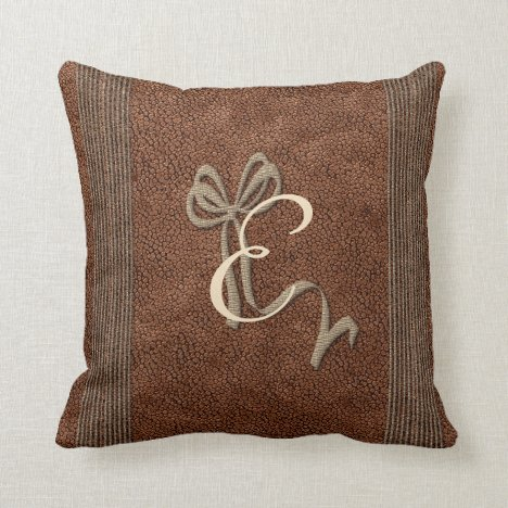 Pretty Bow Copper Look Vintage style Add Monogram Throw Pillow