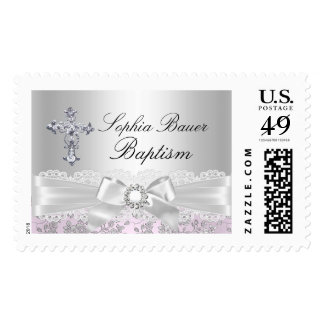 Pretty Bow & Cross Baptism Stamp