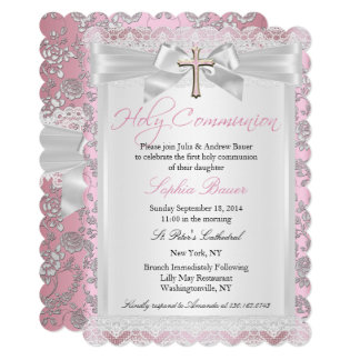 Pretty Bow Cross First Communion Pink Card
