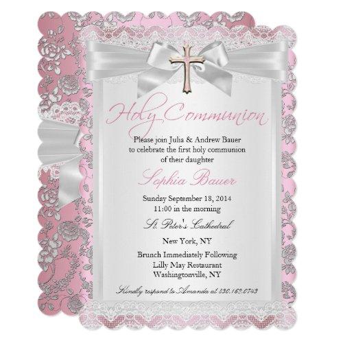 Pretty Bow Cross First Communion Pink Invitation