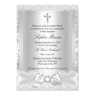 Pretty Bow Cross First Communion Purple 5x7 Paper Invitation Card