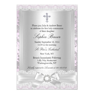 Pretty Bow Cross First Communion Purple 5x7 Paper Invitation Card