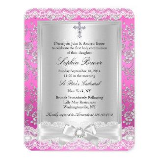 "Pretty Bow Cross pink Holy Communion 2 4.25"" X 5.5"" Invitation Card"