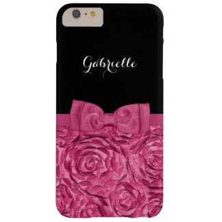 Pretty Bow Pink and Black Rose Pattern With Name Barely There iPhone 6 Plus Case