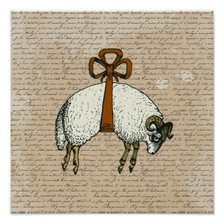 Pretty Bow Sheep CHANGE COLOR~ Poster 13.25x13.25
