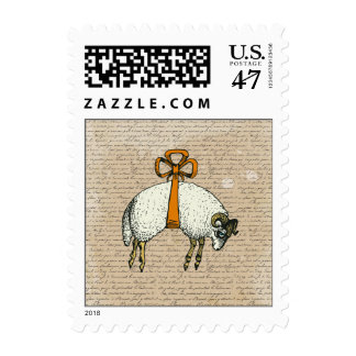Pretty Bow Sheep ~ Postage Stamps
