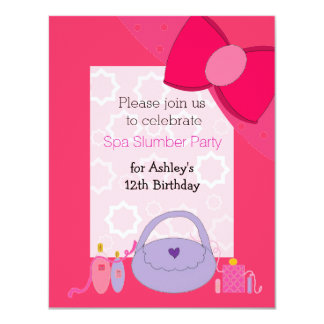 Pretty Bow Spa Birthday Party Invitation