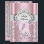 "Pretty Bow Tiara Princess Baby Shower Invitation<br><div class=""desc"">Small Baby Shower Invitation. Elegant rose design &amp; pretty jewel tiara. Please Note: All flat images! they do not have real bows or jewels!</div>"