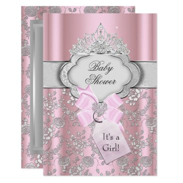 Toddler & Baby themed Pretty Bow Tiara Princess Baby Shower Invitation