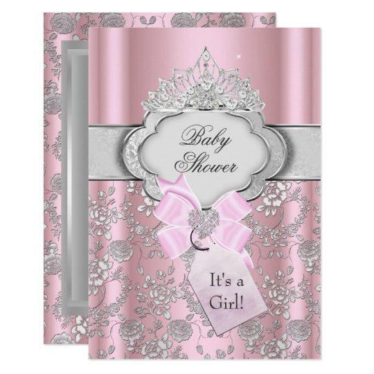 Pretty Bow Tiara Princess Baby Shower Invitation