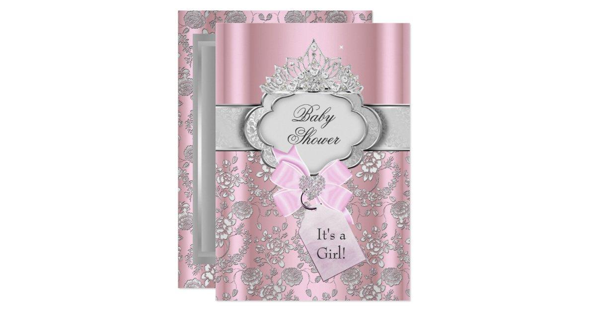 Pretty Bow Tiara Princess Baby Shower Invitation   Zazzle.com
