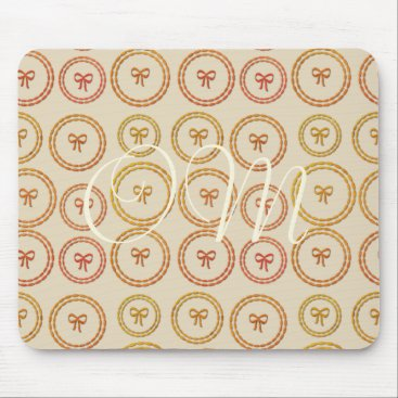 Beach Themed Pretty Bows Pattern Beige Add Initials Mousepad