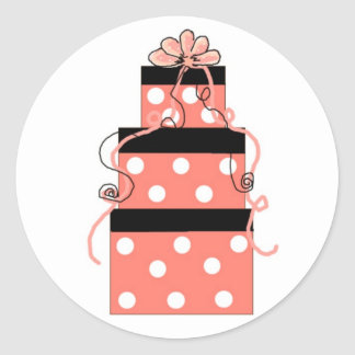 Pretty Boxes in Pink with White Polka Dots Classic Round Sticker