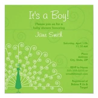 """Pretty Boy Peacock Baby Shower Invitation - Green 5.25"""" Square Invitation Card"""